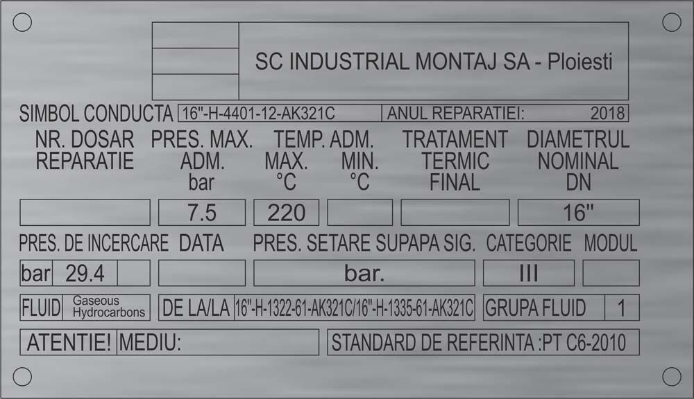 gravura inox (industrial montaj)